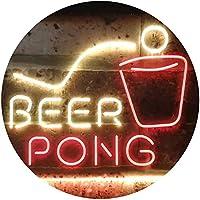 Beer Pong Bar Game Pub Dual Color LED看板 ネオンプレート サイン 標識 赤色 + 黄色 600 x 400mm st6s64-i3495-ry