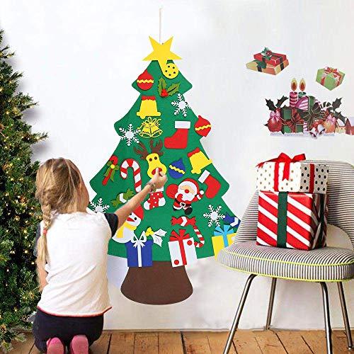 Favson Set Albero di Natale in Feltro Fai da Te - 32 Pezzi Decorazioni Natalizie - Regalo di Natale per Bambini