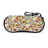 sherry-shop Fast Food Pattern Sonnenbrille Soft Case mit Gürtelclip, leichte weiche Schutzbrille aus Neopren mit Reißverschluss, 17 cm × 8 cm