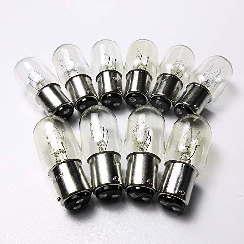 10 bombillas #Ba15D 220 V para Singer 221 peso pluma, 222, 301 Babylock Bl1000 Simplicity Sl415 Singer 4830 (10 unidades)
