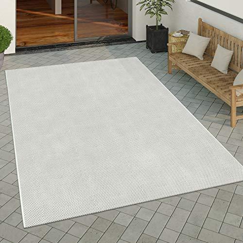 Paco Home In- & Outdoor Teppich Küchenteppich Einfarbiges Design Sisal Optik Modern Creme, Grösse:80x150 cm