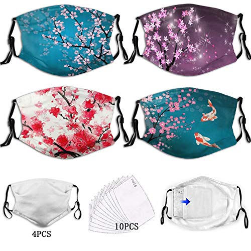 Plum Cherry Blossom Face Mask 4 PCS Beautiful DecorationAdjustable Dust Masks WashableReusableFashion Comfortable Windproof SoftMask with Shieldfor Men Women Teens with 10 Replaceable Filters