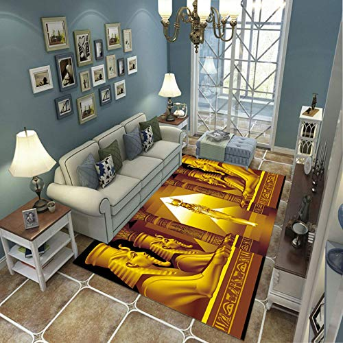 Alfombra Suave, Moderno Estilo Decoración Alfombras, Niños Gateando Manta, Arte De Impresión 3D Arquitectura Egipcia, 60(H)X120(W)Cm Moqueta Para Dormitorio Y Salón O Habitación Infantil