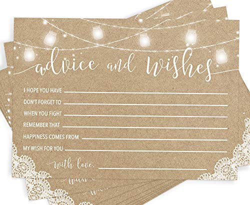 Rustic Advice and Well Wishes, Set of 50 Cards, Wedding and Bridal Shower Advice, Wedding Guest Book Alternative