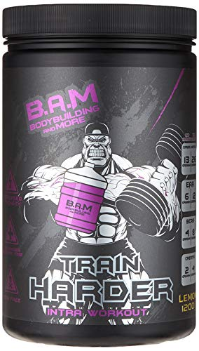 Fan Edition B.A.M. Train HARDER Intra Workout Supplement EAA & BCAA 2:1:1 Komplex inkl. Jil Poster Mit Signatur 1200g (Lemon) …