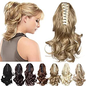 Claw Ponytail Extension Short Jaw Ponytails Pony Tail Hairpiece 145G Thick Clip in Hair Extensions Synthetic Fibre for Women 12 inch Curly light brown & ash blonde