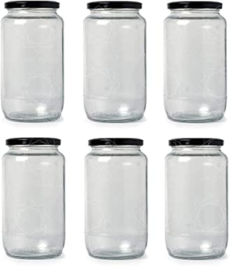 Ventuos Glass Kitchen Jar With Air Tight Black Cap - 1000ml, Set of 8, Transparent
