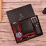 JJZXD 2021 Nuevo 4 unids/Set Boutique Gift Set Reloj de Moda bellamente empaquetado Hombres Cinturón de Cuero Cartera Pluma Regalos para Hombre Envío de la Gota (Color : Black)