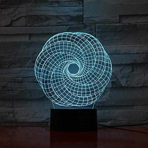 Lámpara de ilusión 3D Luz de noche LED Lámpara de mesa multicolor visual Interruptor táctil Luminaria Arte Escultura Lámparas con placa de metacrilato Regalos navideños de cumpleaños para niños