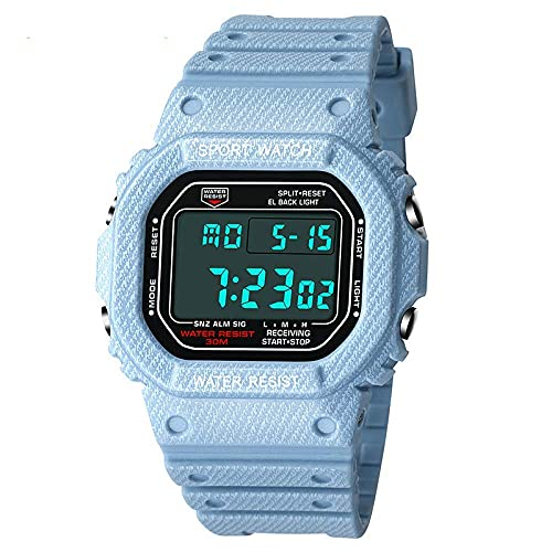 Male and Female Students Electronic Watches New Denim Pattern Sports Waterproof Watches Watches Couple Watches (Color : Denim Pattern Light Blue Men)
