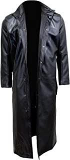 Mens - Death Bones - Gothic Trench Coat PU-Leather with Full Zip