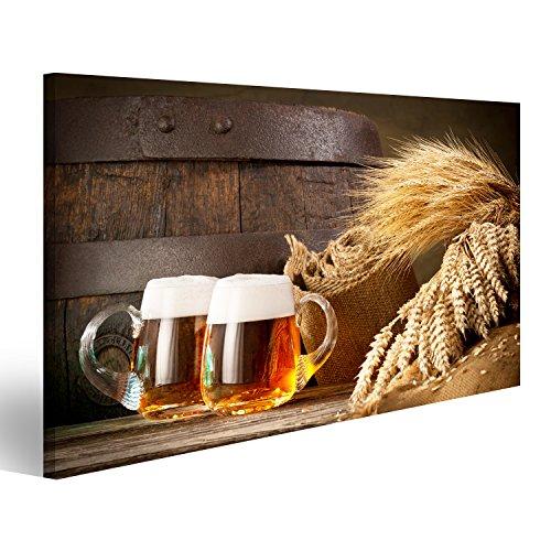 islandburner Quadro Moderno BPO Zwei Biere vor Holzfass Bier Stampa su Tela - Quadro x poltrone Salotto Cucina mobili Ufficio casa - Fotografica Formato XXL