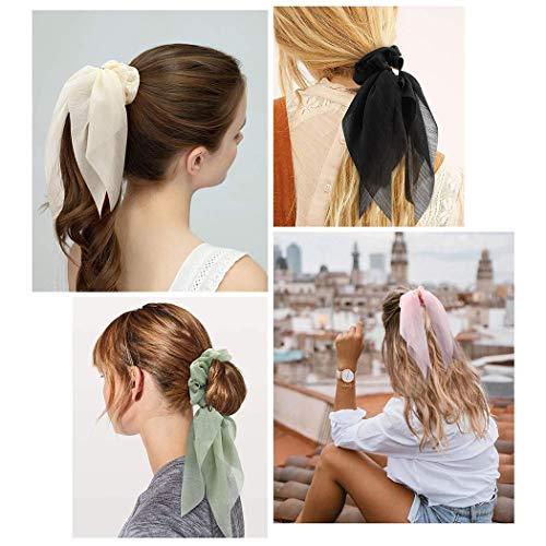 Ushiny Seiden-Haargummi, Chiffon-Blumen-Haargummi, elastische Haarbänder, Seile, Haarbänder, Pferdeschwanz-Halter, Haar-Accessoires für Frauen und Mädchen, 4 Stück