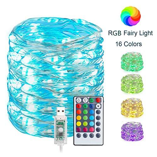 100 luci a LED 33 m, 16 luci multicolore che cambiano colore tramite USB, 4 modalità dimmerabili con telecomando, luci in filo di rame impermeabili per camera da letto, feste natalizie