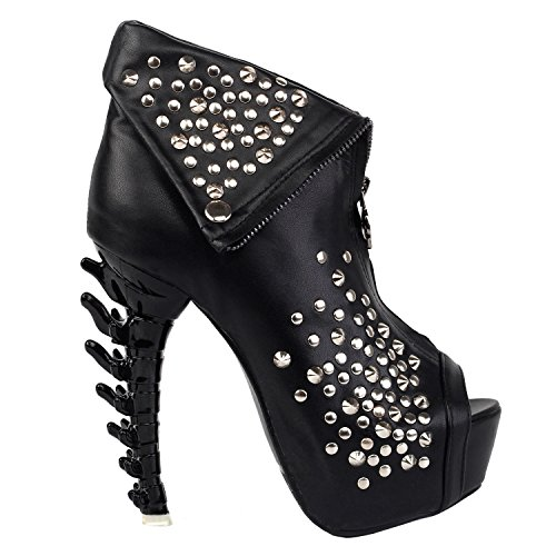 SHOW STORY New Sexy Punk Goth Sassy Gaga Heels for Women,LF80632BK39,8US,Black