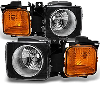 For Hummer H3 | H3T Black Amber Headlights Head Lamps Driver Left + Passenger Right Side Replacement Set