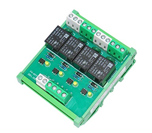 GAEYAELE 4 Channel 1 SPDT DIN Rail Mount 12V 24V DC/AC Interface Relay Module (FY-T734-24VACDC)