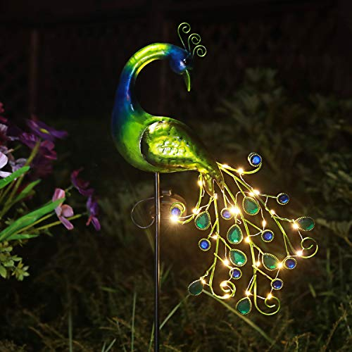 Solar Garden Lights Metal Peacock Garden Decor Waterproof Peacock Solar Stake for Outdoor Patio Yard Decorations