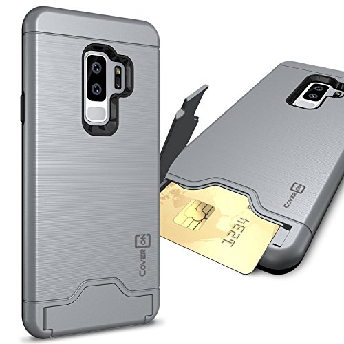 CoverON Credit Card Holder Protective SecureCard Series for Samsung Galaxy S9 Plus Case, Gunmetal Gray