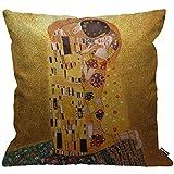 Funda de cojín HGOD DESIGNS Gustav Klimts The Kiss funda de almohada decorativa para el hogar para hombres/mujeres/niños/niñas sala de estar dormitorio sofá silla 45 x 45 cm funda de almohada
