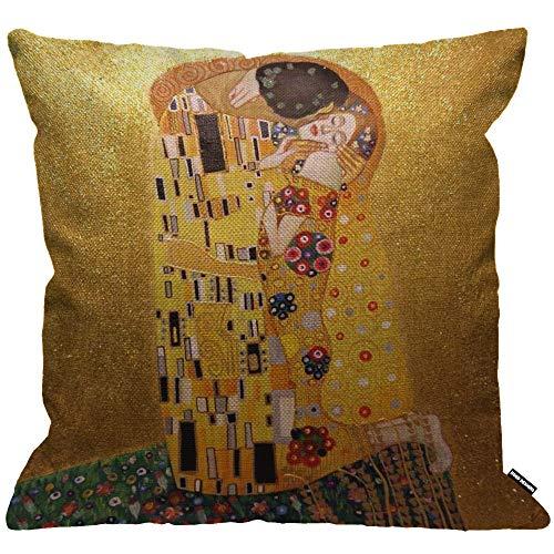 HGOD DESIGNS Cushion Cover Gustav Klimts The Kiss Throw Pillow Cover Home Decorative for Men/Women/Boys/Girls Living Room Bedroom Sofa Chair 18X18 Inch Pillowcase