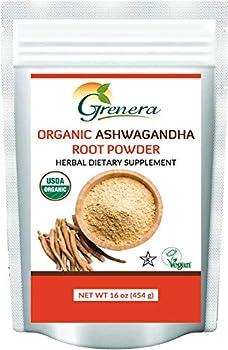 Grenera Organic Ashwagandha Powder 1 lb  16 Ounce - USDA Organic Vegan Kosher Cetified