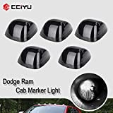 cciyu Replacement fit for 94-98 for Dodge for Ram 2500 3500 Black Smoked Cab Roof Top Marker Running Lamps w/White 5050 SMD LED Light Bulbs(5 Pcs)