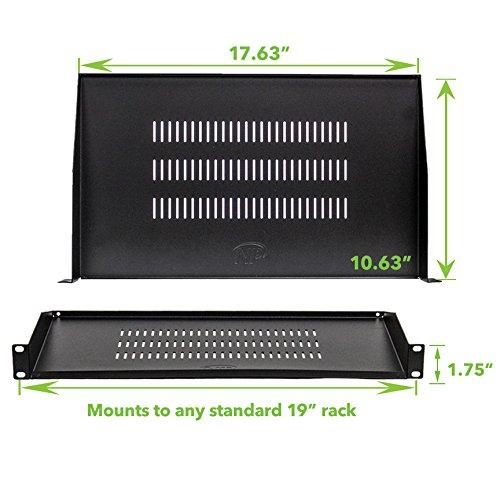 NavePoint Cantilever Server Shelf Vented Shelves Rack Mount 19 Inch 1U Black 10.5 Inches 270mm deep