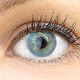 GLAMLENS lentillas de color azules Valencia Blue + contenedor. 1 par (2 piezas) - 90 Días - Sin Graduación - 0.00 dioptrías - blandos - Lentes de contacto azules azul de hidrogel de silicona