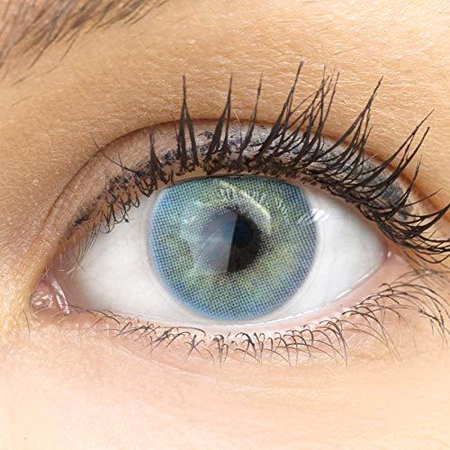 GLAMLENS Valencia Blue blau + Behälter | Sehr stark deckende natürliche blaue Kontaktlinsen farbig | farbige Monatslinsen aus Silikon Hydrogel | 1 Paar (2 Stück) | DIA 14.20 | Ohne Stärke
