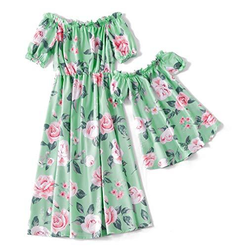 Yaffi Mutter und Tochter passenden Maxi-Kleid mit Blumenmuster Puff Kurzarm Sommer schulterfrei langes Kleid Mädchen: 3-4 Jahre