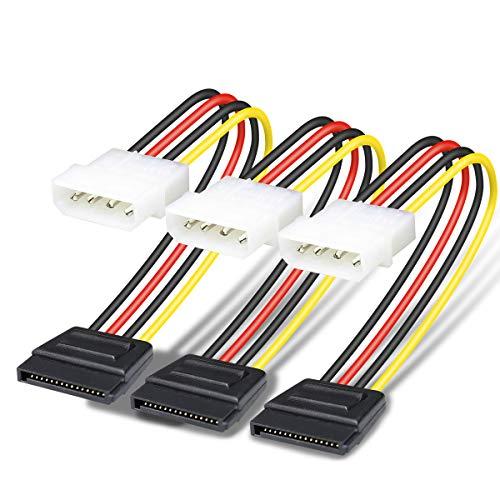 BENFEI Molex 4 Pin auf SATA 15 Pin Stromkabel (SATA 15 Pin auf Molex 4 Pin), 25 cm, 3 Stück