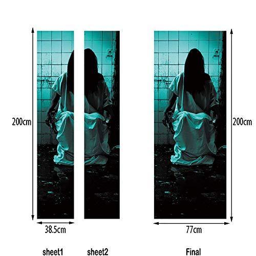 LTT& 3D Renovierung Halloween Weiblicher Geist Tür-Wandbilder Entfernbar Selbstklebend Tapete Haus Dekoration 77 X 200 cm