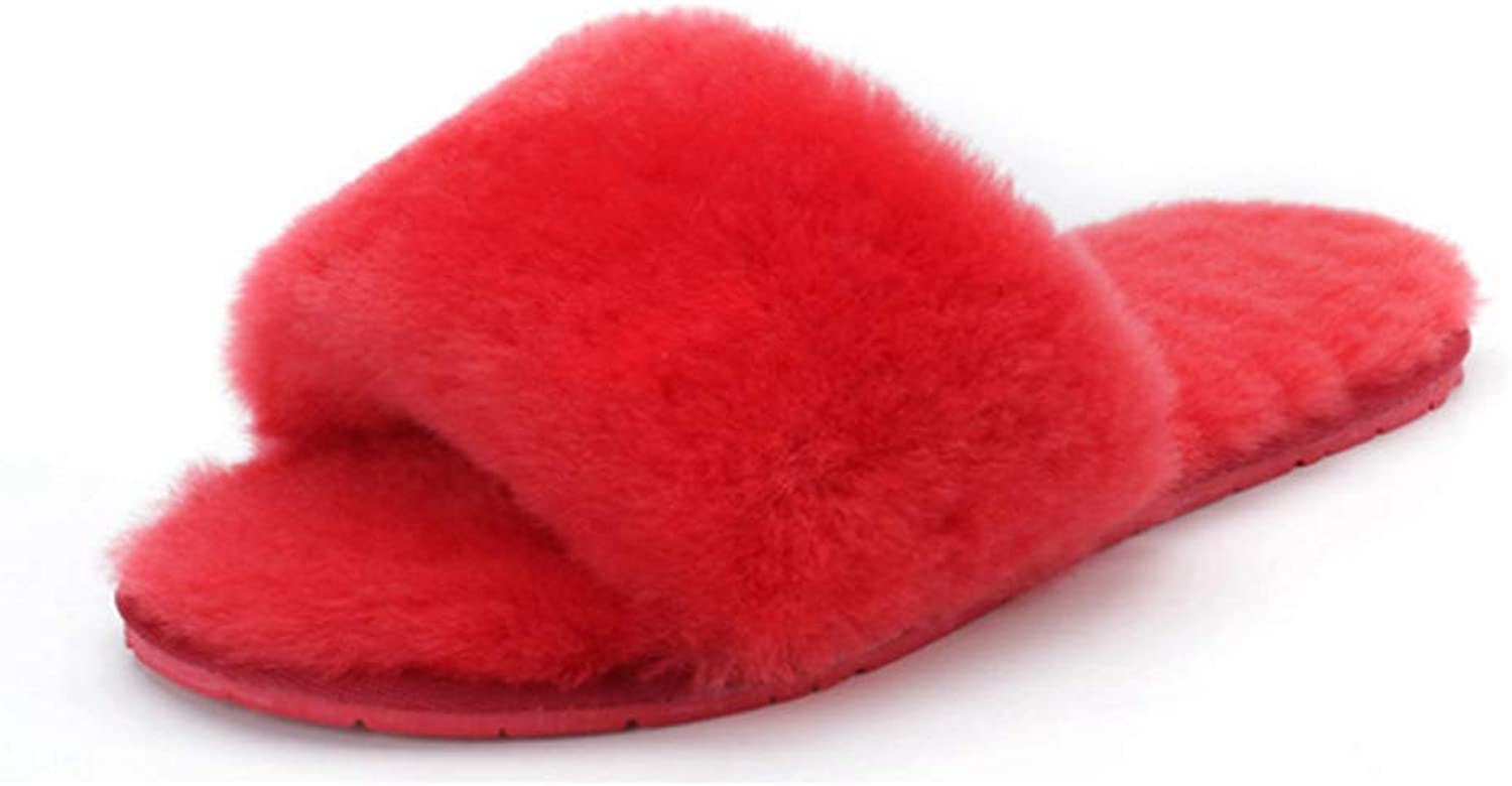 Zarbrina Fashion Winter Sheepskin Slippers for Women Indoor Slip on Footwear Warm Fur Lining Soft Plush Woolen shoes