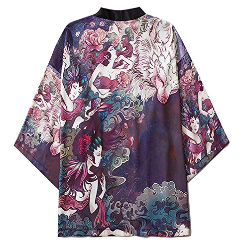 curtain Cárdigan Kimono japonés para Mujer/Cárdigan de Albornoz Holgado Oversized Verano Ropa de protección Solar Pijama Chaqueta Abrigo haori,Blue-Large