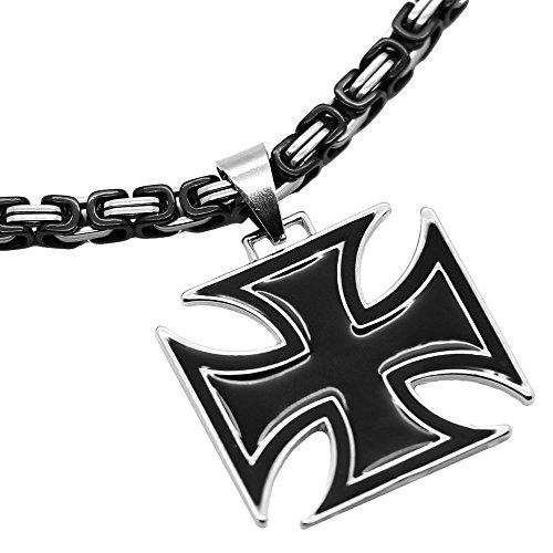 tumundo® Set 1x Königskette Ø 5mm + 1x Anhänger Kreuz Kruzifix Halskette Massiv Herrenschmuck Kettenanhänger, Farbe:Modell 2-55cm