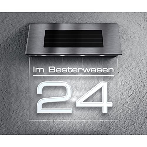 Metzler Solar Hausnummer - inkl. Hochkapazitäts-Akku 2700mAh - LED Kaltweiß Beleuchtung - Individueller Hausnummernschild - Türschild, Größe: 17,2 x 19 cm