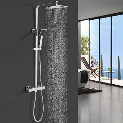 Duschesystem mit Thermostat, WOOHSE Duscharmatur Thermostat mit Regendusche und Handbrause Edelstahl Dusche mit höhenverstellbarem Regenbrausearm (bei Installation) 79cm-122,5cm, Chrom