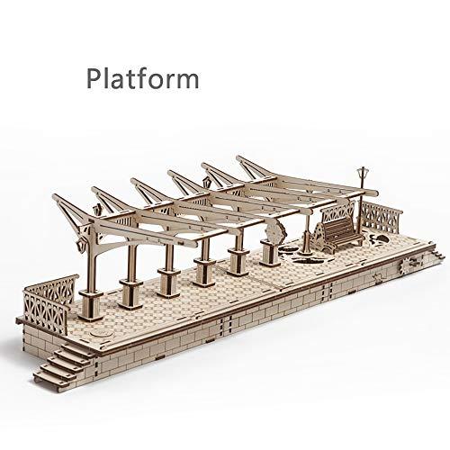 Train mechanische constructie puzzel-3D lasergesneden houten puzzelspoor, platform, wegbaan-geschenken voor kinderen, tieners Brainteaser Europese stijl. size Platform