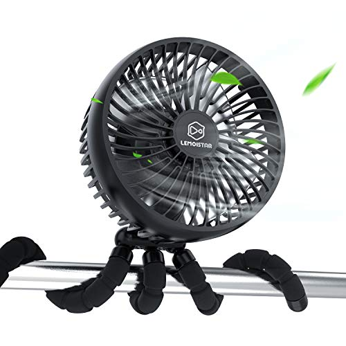 10000mAh Rechargeable Battery Powered Clip On Fan, Baby Stroller Fan, 6-Inch Handheld Fan with Flexible Tripod, 4 Speeds, 53H Working Time,Ultra Quiet, Personal Portable USB Desk Fan for Stroller Hurricane Treadmill Crib Bike Car Seat
