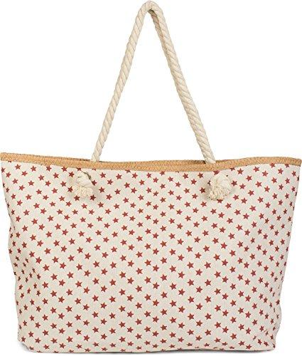 styleBREAKER XXL Strandtasche mit kleinem Sterne Muster, Stern Print und Reißverschluss, Schultertasche, Shopper, Damen 02012231, Farbe:Beige-Bordeaux-Rot
