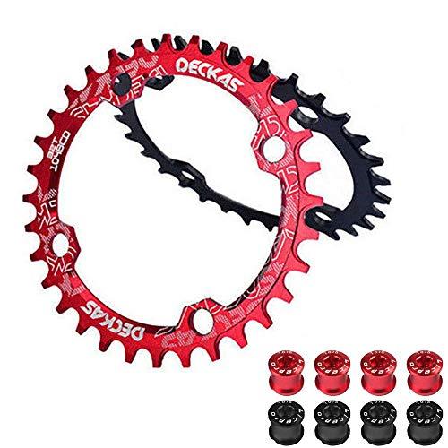 ZHTT Plato de Bicicleta de montaña 104BCD, 104BCD 32-38T Anillo de Cadena de Bicicleta CNC Redondo/Ovalado AL7075, Apto para Plato de Bicicleta de Cadena Shimano/SRAM/FSA Crank 7-11S