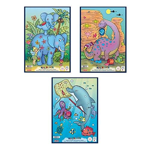 Herlitz Malblock A3 Comic, holzfreies Papier, 70 g/m², 30 Blatt, weiß (3er Pack, A3)