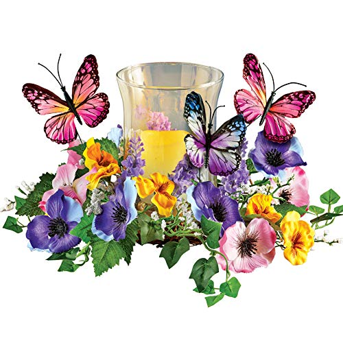 Collections Etc Faux Floral Candle Holder with Butterflies - Spring Tabletop Decor for Any Room in Home