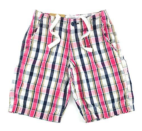 Aeropostale Mens Longer Length Casual Flat Front Plaid Shorts 29 White Navy Pink 0861