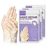 3 Paires Gants Hydratants pour les Mains, Réparation de la Peau des Mains Masque Régénérant Avec Collagène Infusé, Gants Hydratants pour les Mains Sèches, Vieillissantes et Gercées
