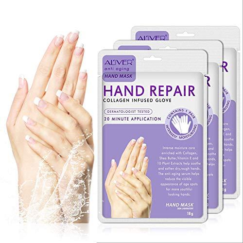 3 Paar Hände Feuchtigkeitsspendende Handschuhe, Hand Skin Repair Renew Mask mit Eingegossenem Kollagen, Feuchtigkeitsverstärkende Handschuhe für Trockene, Alternde, Rissige Hände