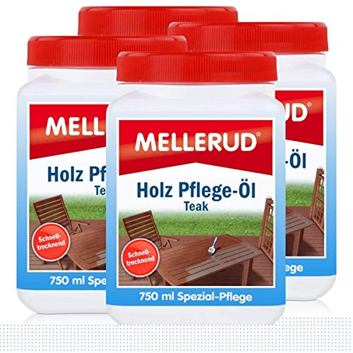 Mellerud Holz Pflege-Öl Farbton Teak 750ml - Spezial-Pflege (4er Pack)