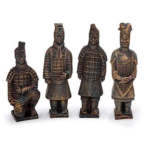 Truu Design - Juego de figuras de guerrero de terracota de bronce antiguo, 16,5 x 16,5 cm, 12 piezas