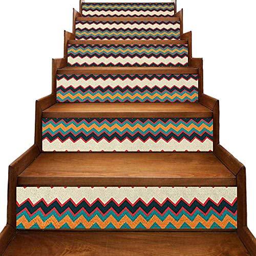 JiuYIBB Chevron - Pegatinas autoadhesivas para escaleras, diseño de espiga con líneas anguladas y salpicaduras de pintura, rayas abstractas onduladas, impermeables, multicolor